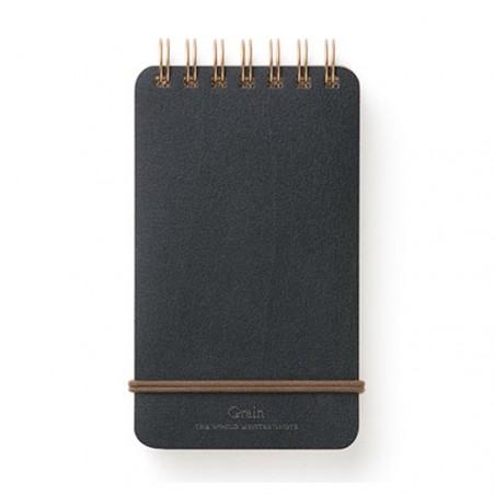 Memo midori grain cuaderno cuero negro anillas