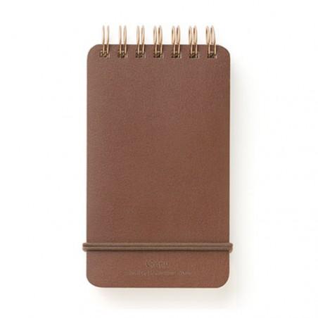 Memo midori grain cuaderno cuero marrón anillas