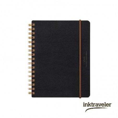 B6 midori grain cuaderno cuero negro anillas