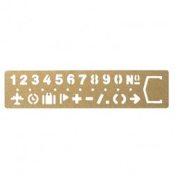 Brass Ruler with numbers.