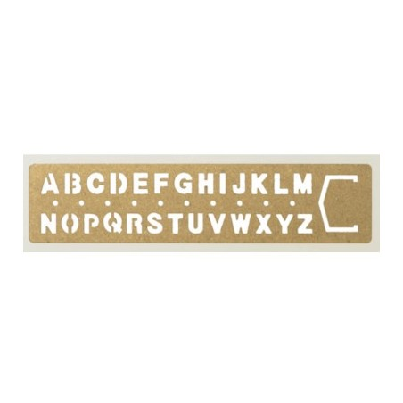 TRC Regla latón huecograbada alfabeto
