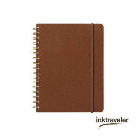 B6 midori grain cuaderno cuero marrón anillas