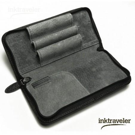 Pilot black Leather Pencase  3 Fountain pens