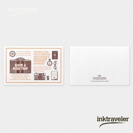 TRC Tarjeta tipográfica marrón útiles de viaje