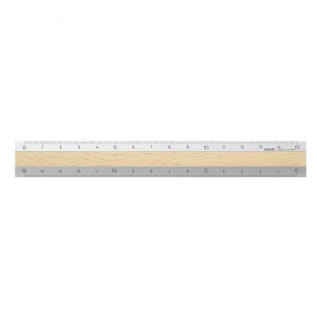 midori Aluminum & Wood Ruler 15cm Light Brown