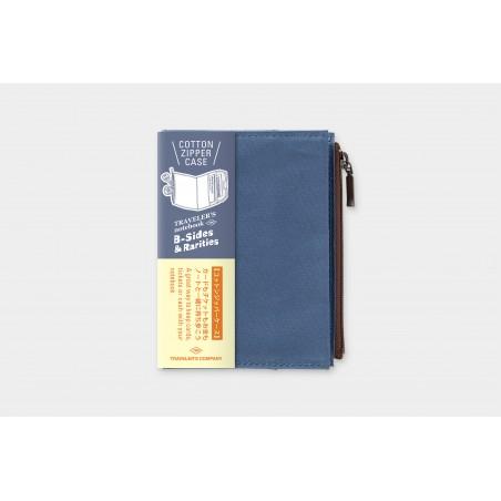 TN passport Size Cotton Zipper Case blue