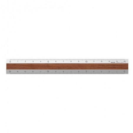 midori Aluminum & Wood Ruler 15cm Brown