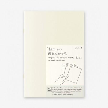 A5 midori pack 3 Notebook Light blank MD paper