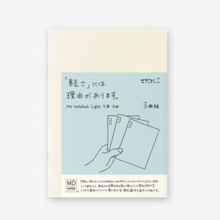 A5 midori pack 3 Notebook Light grid MD paper