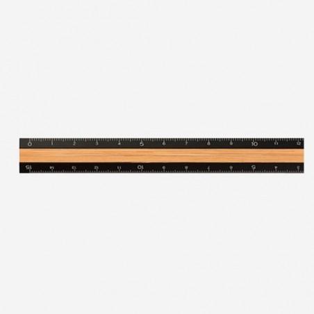 midori Aluminum & Wood Ruler 15cm black