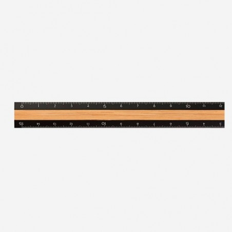 midori regla Madera y Aluminio negra 15cm